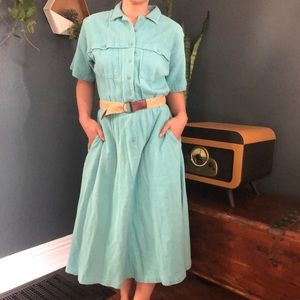 Vintage L.L Bean Cotton Button Up Belted Dress